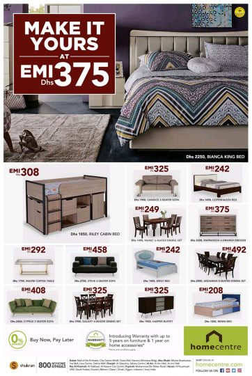 Home centre buy now pay later offers dubaisavers for Furniture buy now pay later