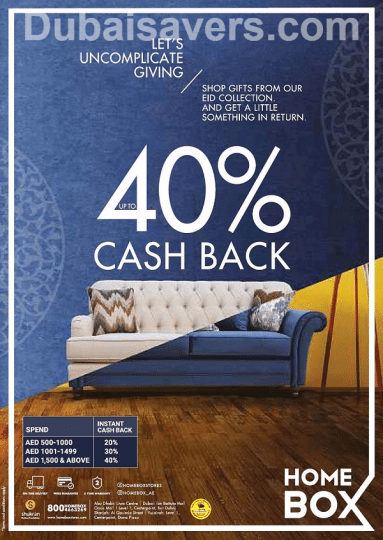Up To 40 Cash Back Offer At Home Box Dubaisavers