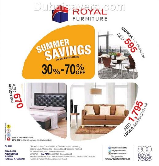royal furniture outlets across dubai is now offering 30 to 70 off on