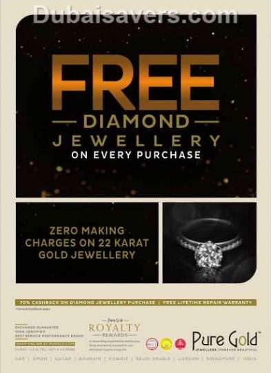 Pure Gold FREE Diamond Jewellery offer - Dubaisavers