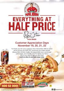 Papa John's Everything at Half Price Promotion - Dubaisavers