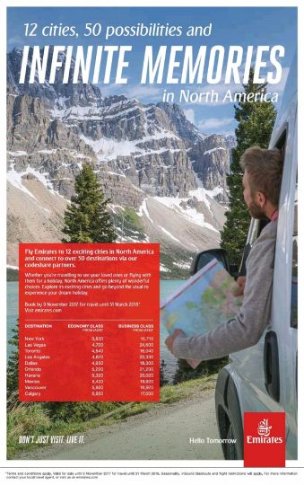 Emirates Airlines Special fare offers to North America - Dubaisavers