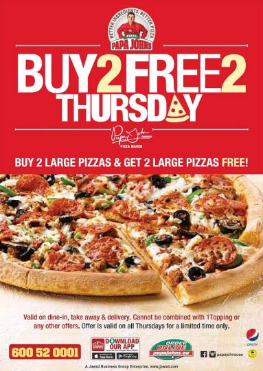 Papa John's Exciting Thursday Only Offer! - Dubaisavers