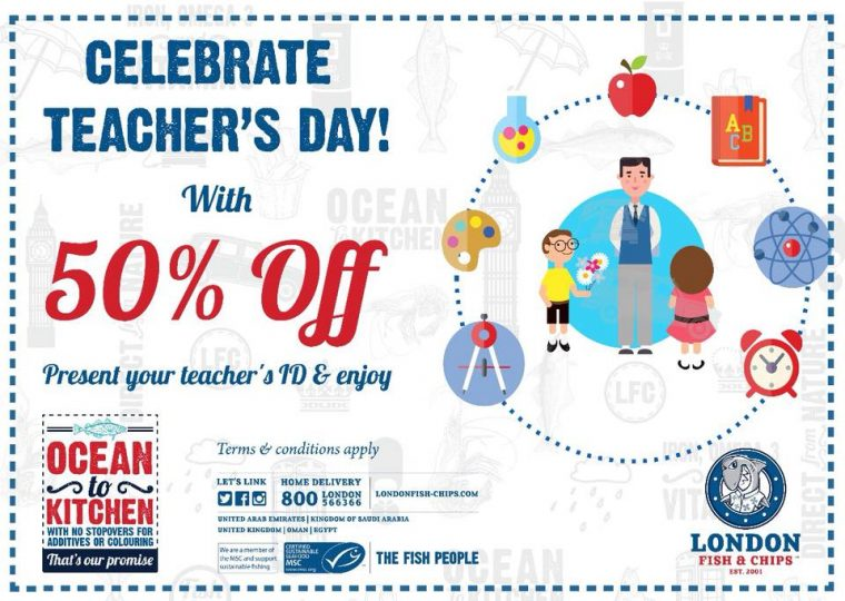 London Fish & Chips celebrates Teacher's Day with 50% OFF - Dubaisavers