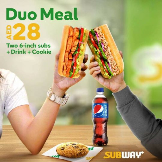 Subway Duo Meal offer for only AED 28! - Dubaisavers