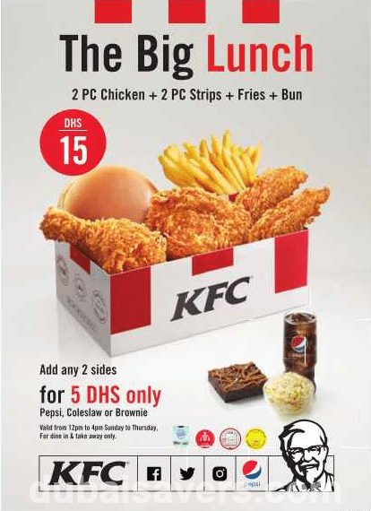 Feb 27,  · KFC Lunch Break Offer for only AED 15 Enjoy your lunch break with 4 pieces Chicken, Fries and a Bun for only AED 15 at KFC outlets across Dubai. Offer is .