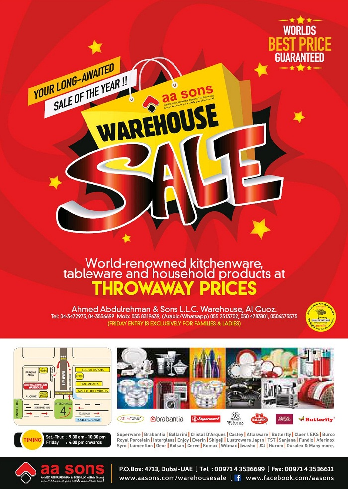 AA Sons Warehouse Sale - Dubaisavers