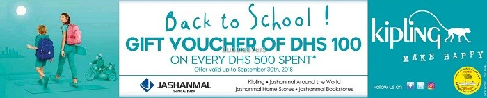 Kipling Back to School Voucher offer - Dubaisavers