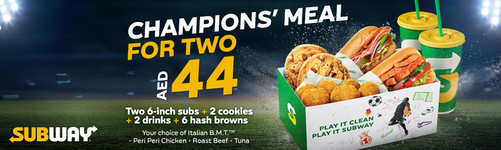 Subway Champions Meal for Two offer - Dubaisavers