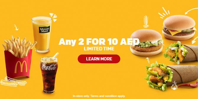 McDonald's Latest offers - Any 2 for AED 10 only - Dubaisavers