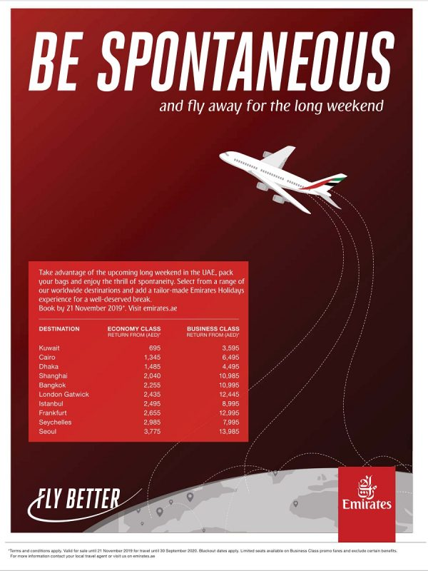 Emirates Airlines Long Weekend Special Fare offers - Dubaisavers
