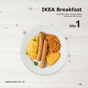 IKEA Restaurant Single's day Food Offer for AED 1 - Dubaisavers