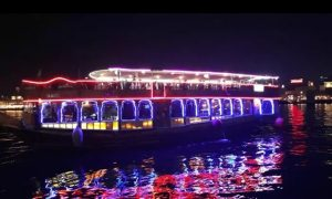 Two-Hour Dubai Creek Dhow Cruise with Dinner, Soft Beverages at Kyka Group - Dubaisavers