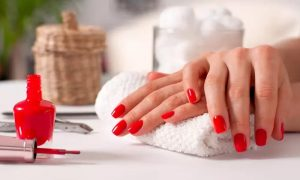 Classic or Gelish Manicure and Pedicure with Optional Full-Face Threading at Red Nail Salon - Dubaisavers