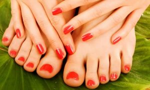 Regular or Gelish Mani-Pedi with Optional Upper Lip Threading or Lip Waxing at Smart Fingers Salon - Dubaisavers