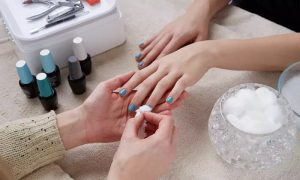 Gelish Manicure and Pedicure or Gel Nail Extensions with Manicure or Mani-Pedi at Nails Art Ladies Salon - Dubaisavers