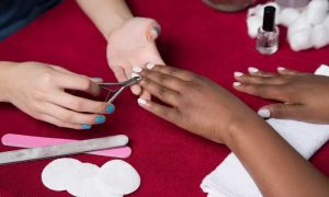 Classic or Gelish Manicure and Pedicure with Optional 20-Minute Foot Reflexology at Pink Line Nail Spa - Dubaisavers