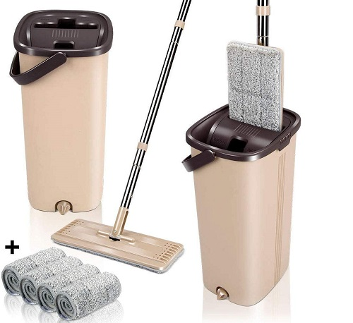 Squeegee Mop and Bucket with 5PCS Mop Pads - Dubaisavers
